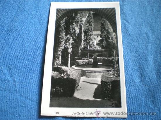 POSTAL GRANADA JARDIN DE LINDARAJA 1952 CIRCULADA (Postales - España - Andalucia Moderna (desde 1.940))