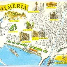 Postales: TARJETA POSTAL MAPA DE ALMERIA ALCAZABA PLAZA DE TOROS CATEDRAL PUERTO PESQUERO ILUSTRADA. Lote 18438095