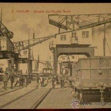Postales: ANTIGUA POSTAL DE HUELVA - DETALLE DEL MUELLE NORTE - N. 5 - ED. PAPELERIA M. MORA Y COMP. - CIRCULA. Lote 24887984