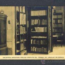 Postales: POSTAL DE SEVILLA: BIBLIOTECA AMERICANA PUBLICA GRATUITA DEL CONSUL DEL URUGUAY. Lote 19124763