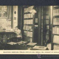 Postales: POSTAL DE SEVILLA: BIBLIOTECA AMERICANA PUBLICA GRATUITA DEL CONSUL DEL URUGUAY. Lote 19124800