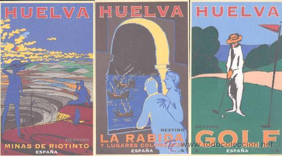 Postales: HUELVA.- 8 POSTALES DEL PATRONATO DE TURISMO DE HUELVA. REPRODUCIONES CARTELES AÑOS 30 - Foto 2 - 21051843
