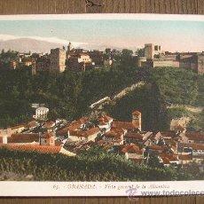 Postales: POSTAL GRANADA FOT. ROISIN PINTADA VISTA GENERAL DE LA ALHAMBRA. Lote 21299820
