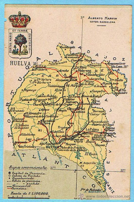 mapa con escudo de la provincia de huelva albe  Comprar Postales