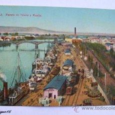 Postales: SEVILLA, PUENTE DE TRIANA Y MUELLE. UNION POSTAL UNIVERSAL ESPAÑA. Lote 27035292