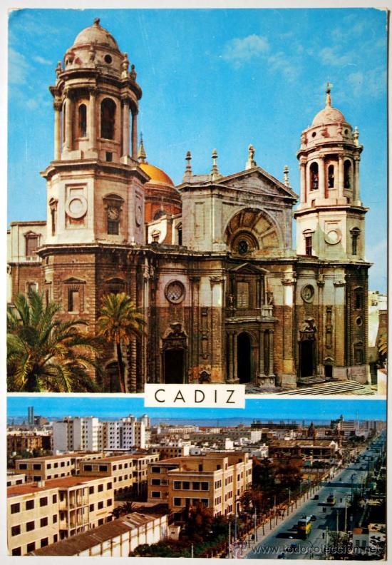 CADIZ. CATEDRAL Y AVDA. LÓPEZ PINTO. (Postales - España - Andalucia Moderna (desde 1.940))