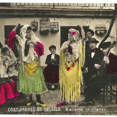 Postales: TRJETA POSTAL FOTOGRAFICA DE SEVILLA - COSTUMBRES DE SEVILLA BAILANDO SEVILLANAS. Lote 23870963
