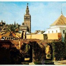 Postales: SEVILLA. REALES ALCAZARES DE SEVILLA. LA GIRALDA EN LOS PATIOS DE ENTRADA.. Lote 24136858