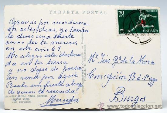 Postales: Postal Málaga Vista parcial catedral Ed García Garrabella circulada 1961 - Foto 2 - 25924242