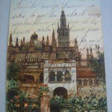 Postales: SEVILLA- GALERÍAS DEL ALCÁZAR Y CATEDRAL. CIRCULADA, ESCRITA Y CON SELLO DE 10 CTS ALFONSO XIII.. Lote 26322418