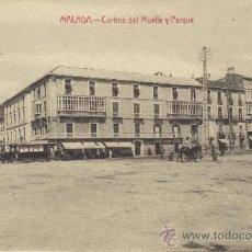 Postales: MALAGA - CORTINA DEL MUELLE Y PARQUE. Lote 26342597