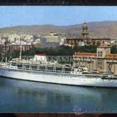 Postales: (02882) MALAGA - PUERTO Y VISTA PARCIAL 1970 - ESCUDO DE ORO Nº36 - BARCO. Lote 27497080