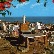 Postales: ALMERIA VISTA PARCIAL Y MONUMENTO AL SAGRADO CORAZÓN DE JESUS SEGURA ESCRITA CIRCULADA SELLOS. Lote 27595868