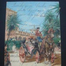 """Postales: """"A LA FERIA. SEVILLA"""". CIRCULADA, ESCRITA Y CON SELLO 10 CTS ALFONSO XIII (AÑO 1904). Lote 27837736"""