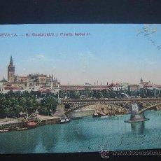 """Postales: """"EL GUADALQUIVIR Y PUENTE DE ISABEL II"""". CIRCULADA, ESCRITA Y FECHADA EL 14-I-1915.. Lote 27950508"""