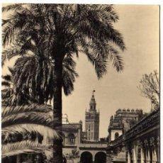 Postales: BONITA POSTAL - SEVILLA - LA GIRALDA DESDE LOS REALES ALCAZARES. Lote 27985784
