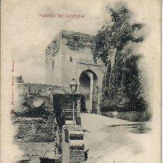 Postales: GRANADA (ALHAMBRA) PUERTA DE JUSTICIA FECHADA AÑO 1899, SELLO ALFONSO XIII (PELON). Lote 28125234