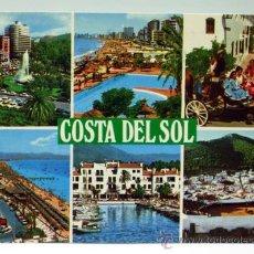 Postales: POSTAL COSTA DEL SOL FUENGIROLA MARBELLA TORREMOLINOS MIJAS MÁLAGA ED BAENA AÑOS 80 CIRCULADA. Lote 28299214