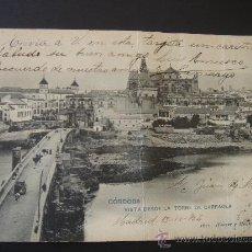 """Postales: """"CÓRDOBA. VISTA DESDE TORRE DE LA CARRAOLA"""".CIRCULADA, ESCRITA Y SELLO 10 CTS ALFONSO XIII(13-IV-04). Lote 28631098"""
