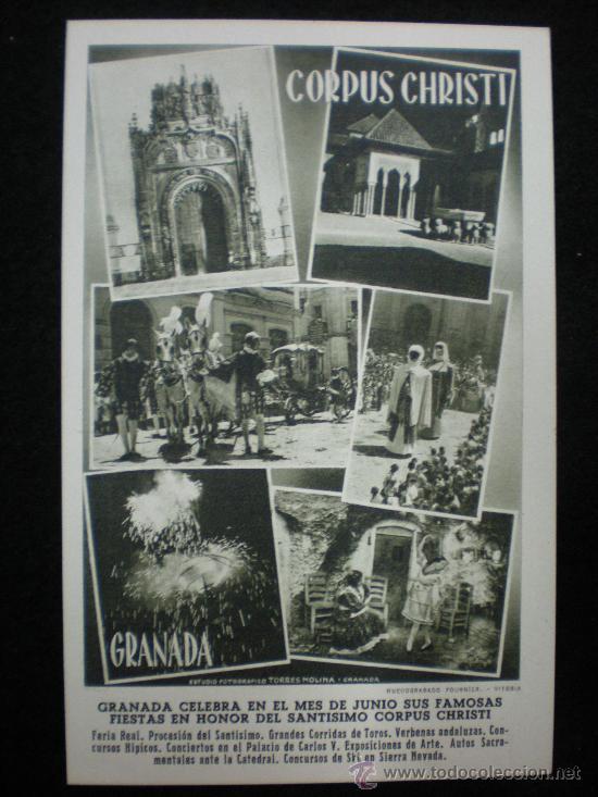 TARJETA POSTAL. GRANADA. GRANADA CELEBRA EL CORPUS CHRISTI. AÑOS 40. (Postales - España - Andalucia Moderna (desde 1.940))