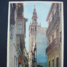Postales: LA GIRALDA DESDE LA CALLE DE PLACENTINES. SEVILLA. CIRCULADA, ESCRITA 15-4-60 Y SELLO 70 CTS FRANCO. Lote 29690914