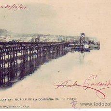 Postales: HUELVA - DETALLES DEL MUELLEDE LA COMPAÑIA RIO TINTO - Nº 5 AMADOR Y JUAN DEL PINO. Lote 30077537
