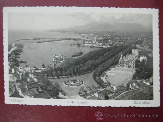 MALAGA, VISTA GENERAL - POSTAL FOTOGRAFICA (Postales - España - Andalucía Antigua (hasta 1939))
