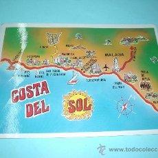 Postales: PSTAL ANDALUCÍA. POSTAL MAPA DE LA COSTA DEL SOL. MÁLAGA, NERJA, TORREMOLINOS, ETC... Lote 31386834