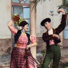 Postales: COSTUMBRES ANDALUZAS LA MALAGUEÑA Y EL TORERO COLECCIÓN TOMAS SANZ SEVILLA Nº 25 PURGER & CO . Lote 32235805
