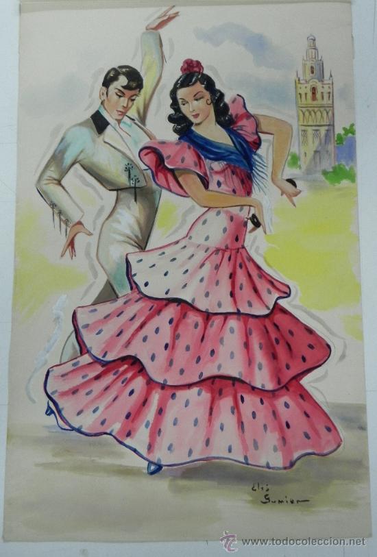 ANTIGUO PROTOTIPO DE POSTAL DE SEVILLA, ES EL ORIGINAL DEL ILUSTRADORA ELSY O ELSI GUMIER, BORDADA Y (Postales - España - Andalucía Antigua (hasta 1939))