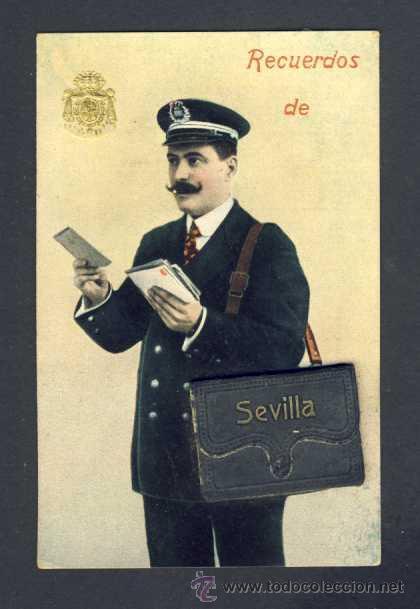 POSTAL DE SEVILLA: CARTERO CON DESPLEGABLE CON 10 MINI VISTAS (VER FOTO ADICIONAL) (Postales - España - Andalucía Antigua (hasta 1939))
