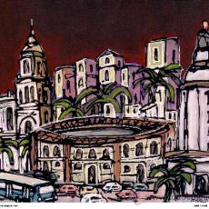 Postales: CUADRO DE MALAGA: MALAGUETA DE NOCHE : EN MADERA 70X50. AUTOR: ALCALÁ.. Lote 240699420