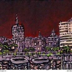 Postales: CUADRO DE MALAGA: PASEO DE NOCHE : EN MADERA 70X50. AUTOR: ALCALÁ. . Lote 32660580