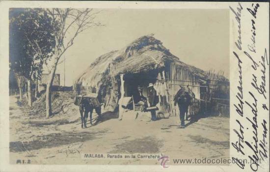 MÁLAGA.- PARADA EN LA CARRETERA (Postales - España - Andalucía Antigua (hasta 1939))