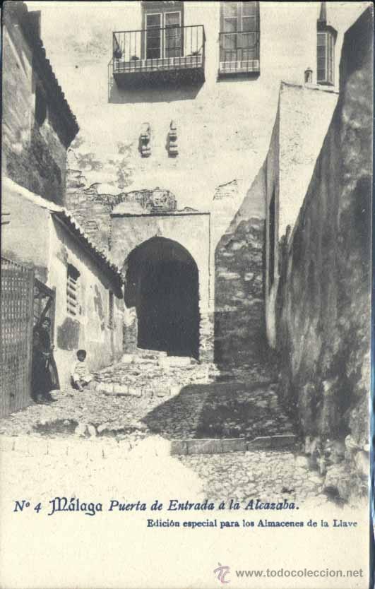 MÁLAGA.- PUERTA DE ENTRADA A LA ALCAZABA (Postales - España - Andalucía Antigua (hasta 1939))