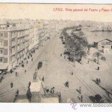 Postales: CADIZ VISTA GENERAL DEL PUERTO Y PASEO CANALEJAS. Lote 33104686