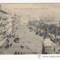 Postales: CADIZ-CALLE ISAAC PERALY PASEO CANALEJAS. Lote 33104717