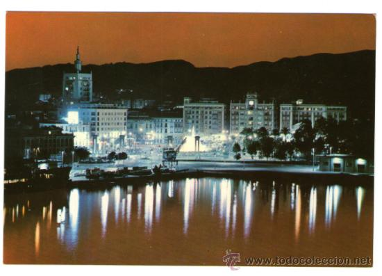 MALAGA - PUERTO Y VISTA PARCIAL ATARDECER - EDICIÓN BEASCOA - POSTAL (Postales - España - Andalucia Moderna (desde 1.940))