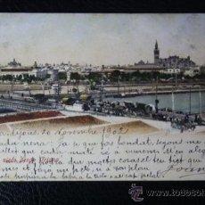 Postales: POSTAL SEVILLA VISTO DESDE TRIANA - CIRCULADA AÑO 1902 - REVERSO SIN DIVIDIR. Lote 34325309