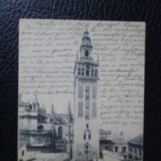 Postales: POSTAL SEVILLA CATEDRAL LA GIRALDA - CIRCULADA AÑO 1902 - REVERSO SIN DIVIDIR HAUSER Y MENET. Lote 34325526