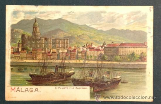 MALAGA. EL PUERTO Y LA CATEDRAL. (ED. PABLO DÜMMATZEN, MALAGA -HAMBURGO. NÚM. 1669). SIN DIVIDIR (Postales - España - Andalucía Antigua (hasta 1939))