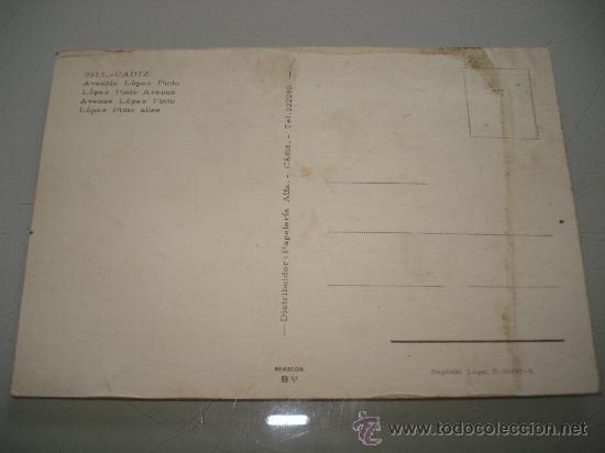 Postales: Antigua Tarjeta Postal de CÁDIZ Avda. López Pinto . Año 1960-70s - Foto 2 - 34916565