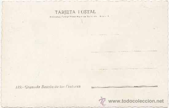 Postales: GRANADA.- BALCÓN DE LOS PINTORES. - Foto 2 - 34981665
