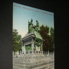 Postales: GRANADA MONUMENTO DE ISABEL LA CATOLICA Y COLON ED. PURGER. Lote 35000422