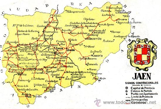 Jaen Mapa Y Escudo Buy Old Postcards From Andalusia At