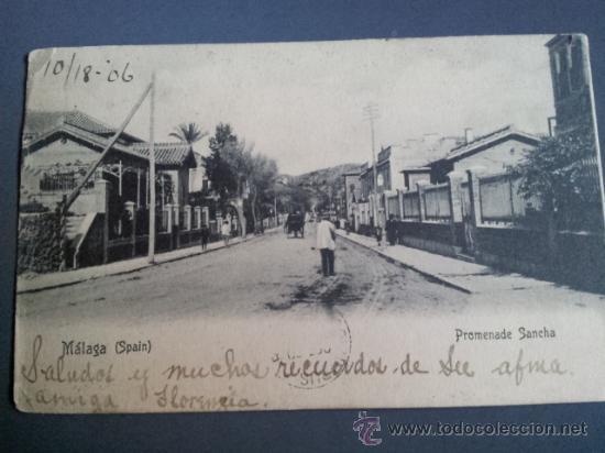 POSTAL MALAGA PASEO DE SANCHA 1906 UNION POSTAL UNIVERSAL DORSO SIN DIVIDIR CIRCULADA DESDE OHIO USA (Postales - España - Andalucía Antigua (hasta 1939))