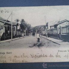 Postales: POSTAL MALAGA PASEO DE SANCHA 1906 UNION POSTAL UNIVERSAL DORSO SIN DIVIDIR CIRCULADA DESDE OHIO USA. Lote 35205105