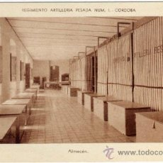 Postales: BONITA Y RARA POSTAL - CORDOBA - REGIMIENTO ARTILLERIA PESADA NÚM.1 - ALMACEN. Lote 35475829