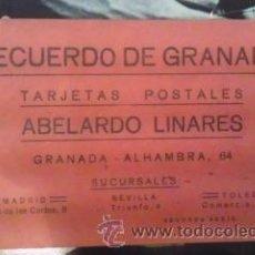 Postales: GRANADA. BOLC DE 18 POSTALES. RECUERDO DE GRANADA. ABELARDO LINARES. 2ª SERIE (GRANADA, HACIA 1940). Lote 35669964