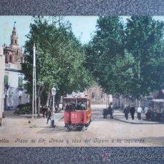 Postales: ANDALUCÍA SEVILLA PLAZA DE SANTO TOMÁS TRANVÍA POSTAL ANTERIOR 1905. Lote 36380533